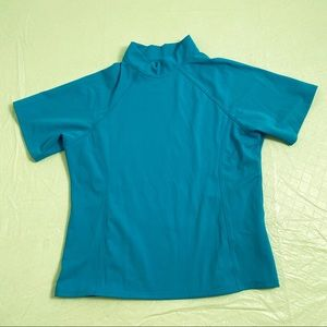 Lands End turquoise fitted front lined rash guard